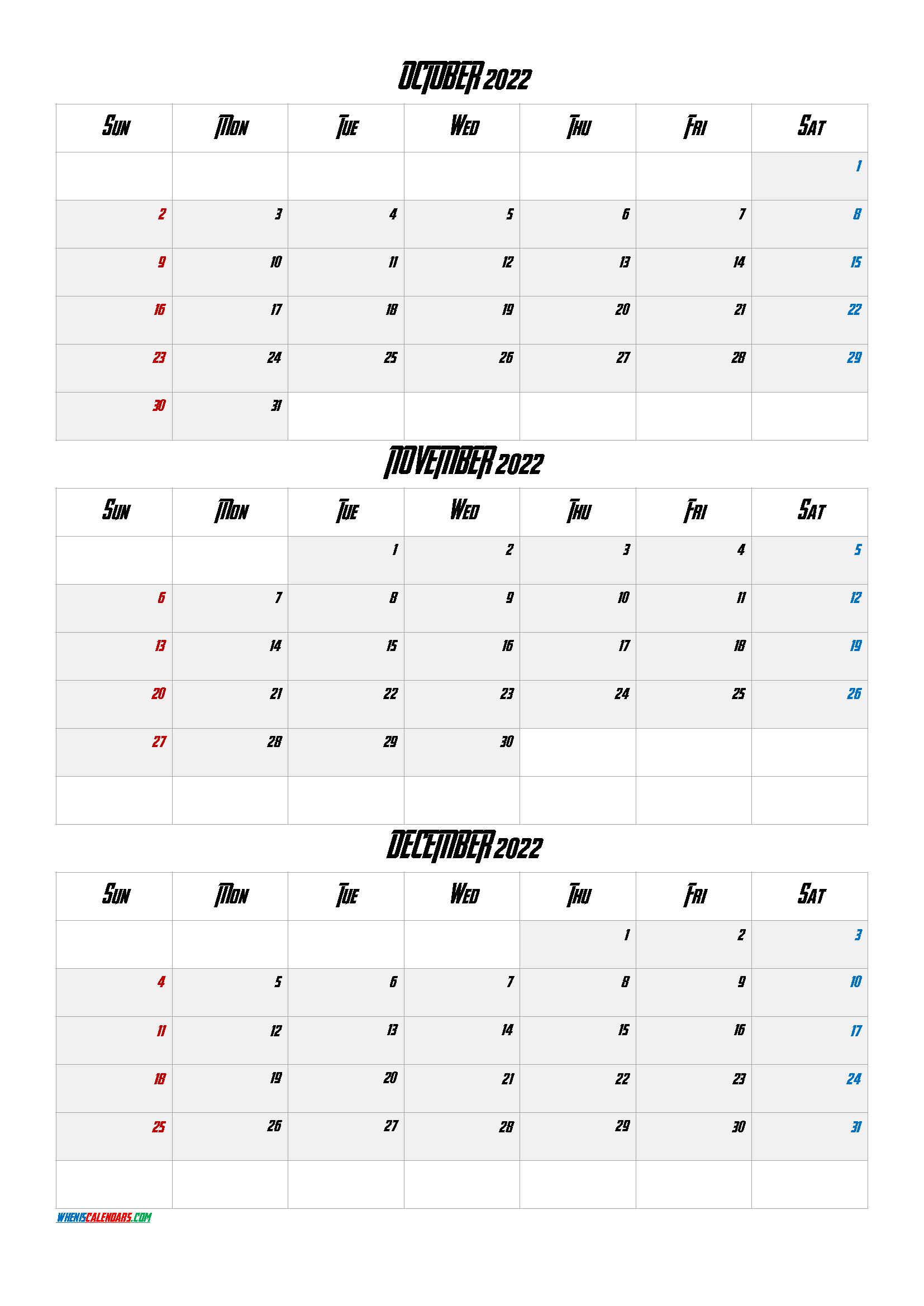 October November December 2022 Calendar Printable Free Q1 Q2 Q3 Q4 In 2020 Printable Calendar July Calendar Printables September Calendar