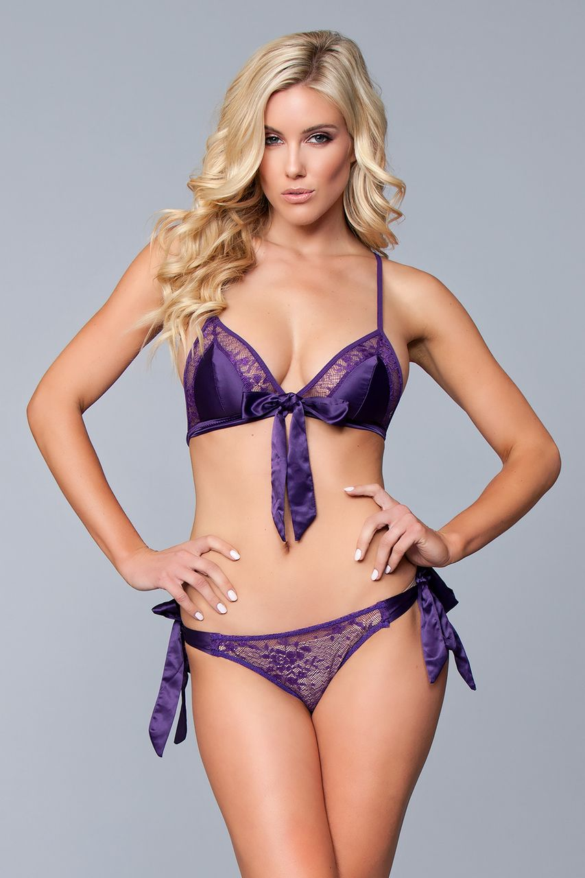 Sexy Be Wicked Purple Sheer Floral Lace and Satin Ribbon Bra and Panty  Lingerie Set Small Medium Large XL 8b0173056