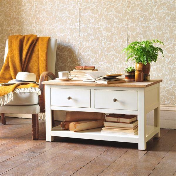 Cream Painted Furniture, Cream Coffee Table, Coffee Table With Drawers, Coffee  Table With