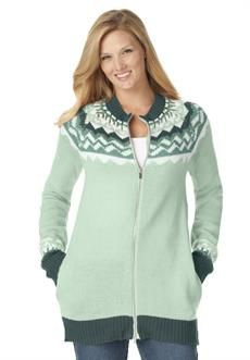 Plus Size Fair Isle cardigan sweater with 2-way zipper front