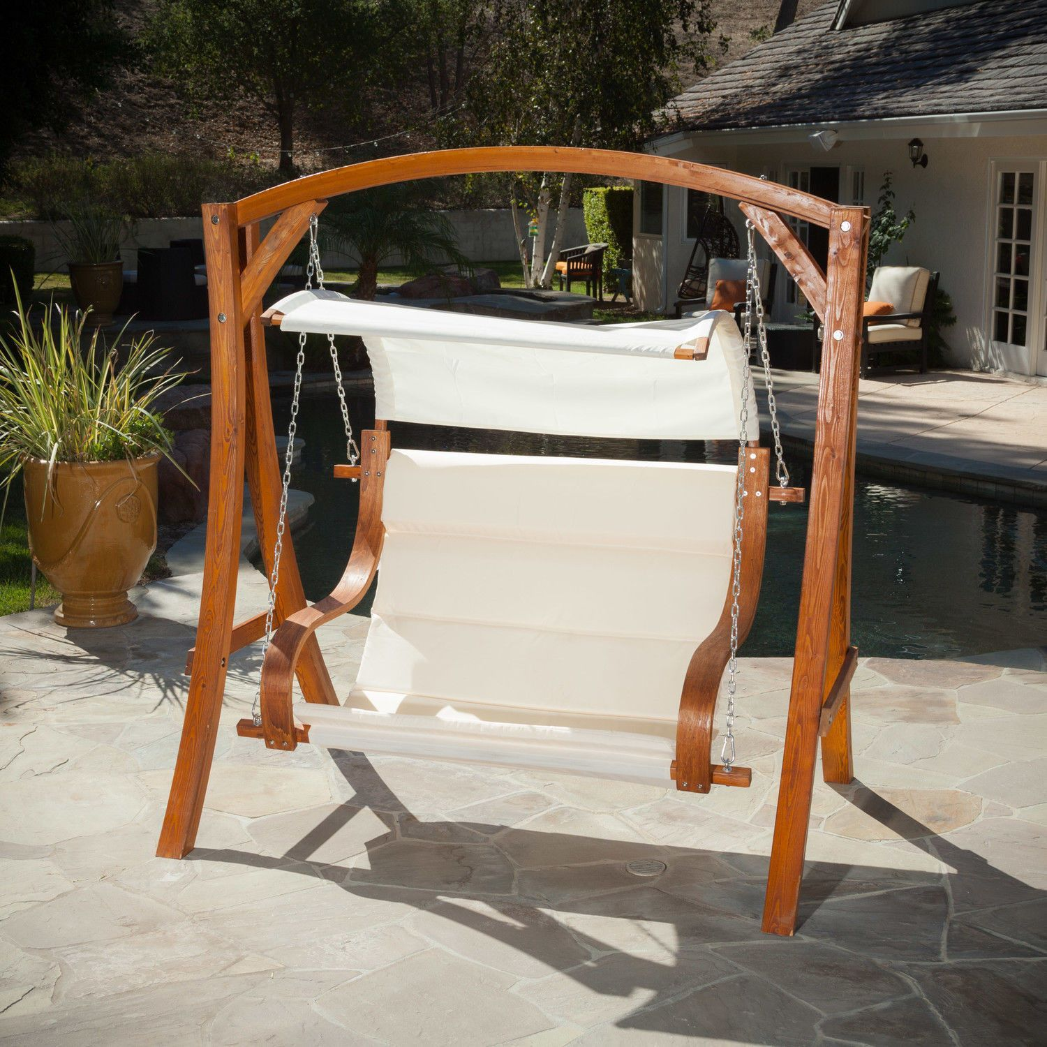 Sensational Hanging Wood Bench Love Seat Chair Swing Patio Outdoor Alphanode Cool Chair Designs And Ideas Alphanodeonline