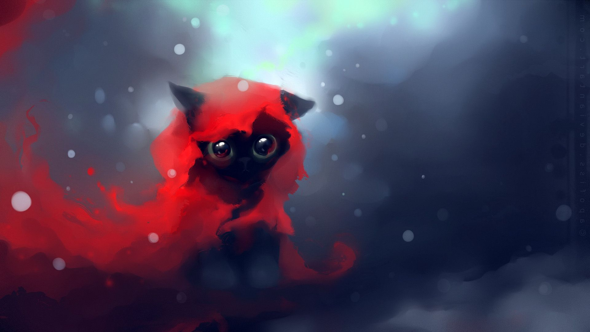 1920x1080 Wallpaper cat, drawing, art, apofiss from