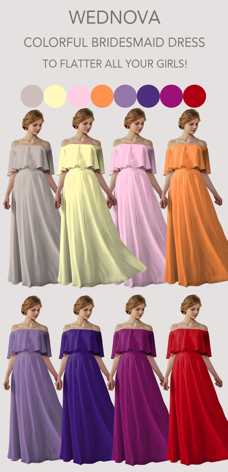 Top boho chiffon bridesmaid dresses color ideas on sale