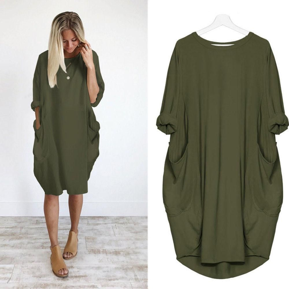 Womens pocket loose dress ladies crew neck casual long tops dress