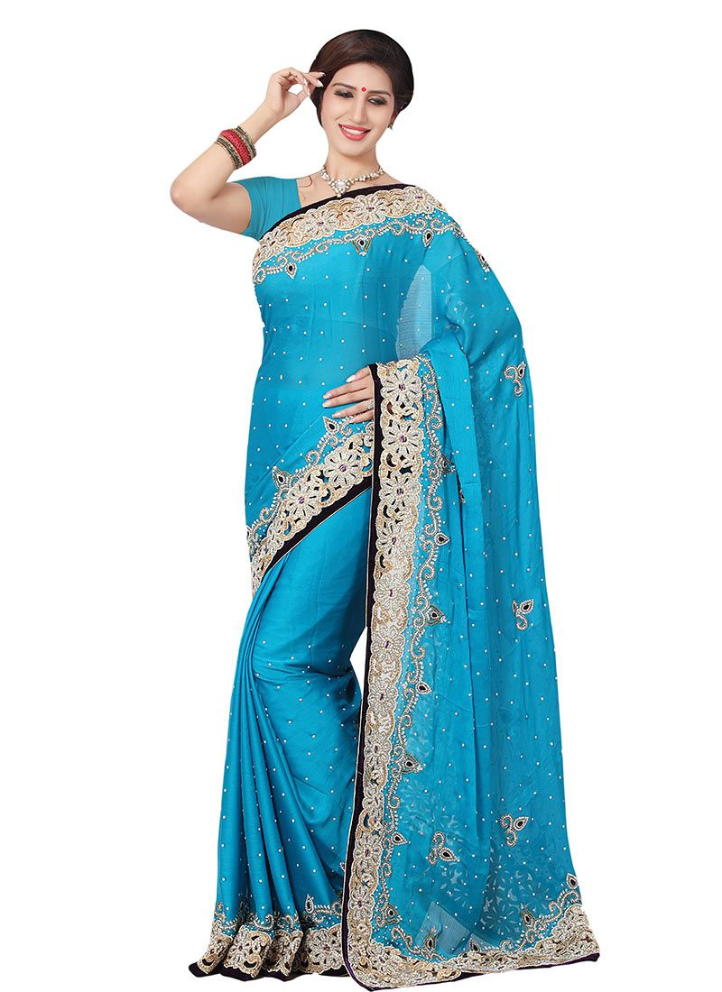 d1640bfec4 Buy Satin Chiffon Sky Blue Saree online from the wide collection of Saree.  This Blue