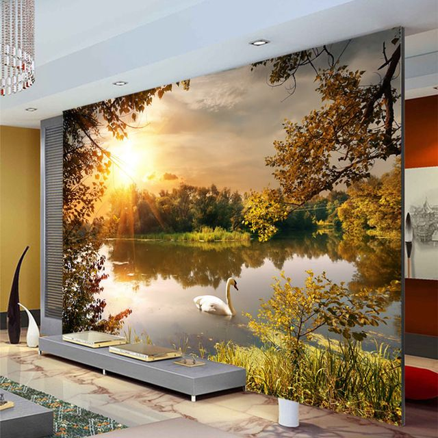 Trees swan lake photo wallpaper sunshine wallpaper custom for Decor mural 3d