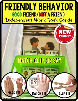 SOCIAL SKILLS Task Cards GOOD FRIEND and NOT A FRIEND for Independent Work Baskets for students with AUTISM and special learning needs.This set of 40 social skills task cards focuses on recognizing GOOD FRIEND and NOT A FRIEND behaviors, as represented in pictures. $2.00