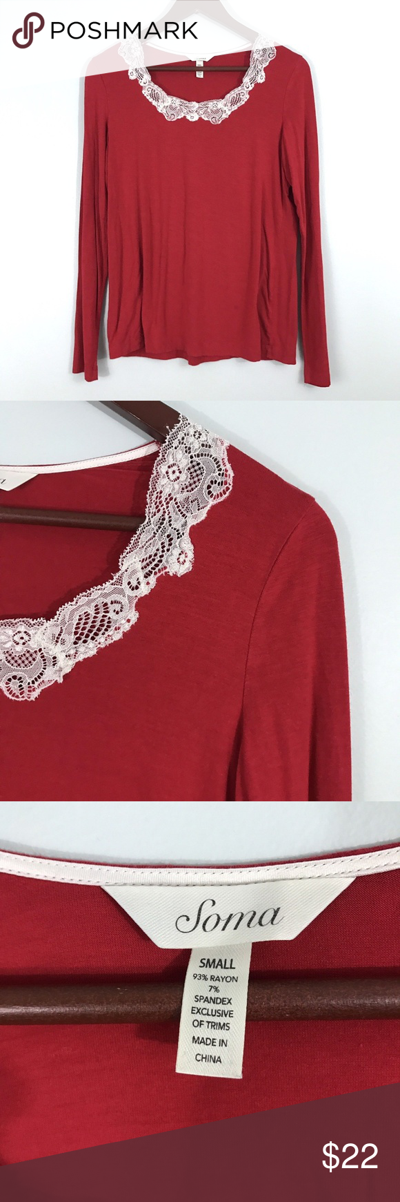 993800321c Soma Red Lace Trim Soft Slinky Knit Sleep Shirt Soma Small Womens Red Lace  Trim Soft