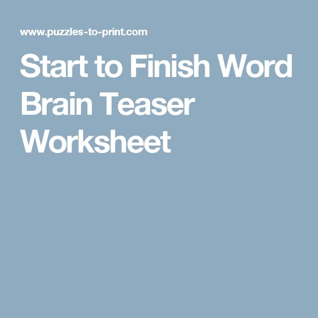 Free Printable Word Brain Teaser