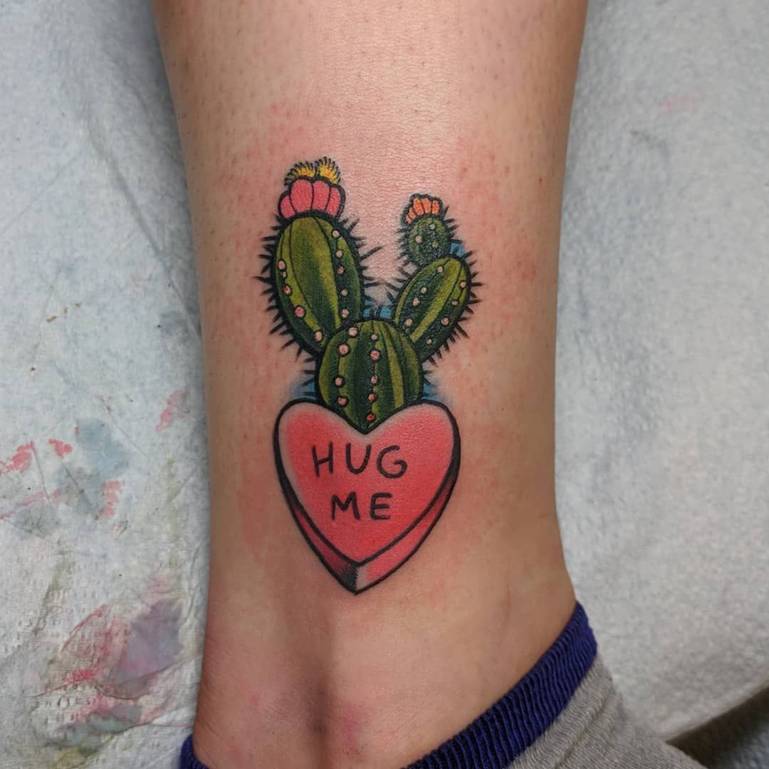 Cactus and Candy Heart Tattoo Tattoo Ideas and