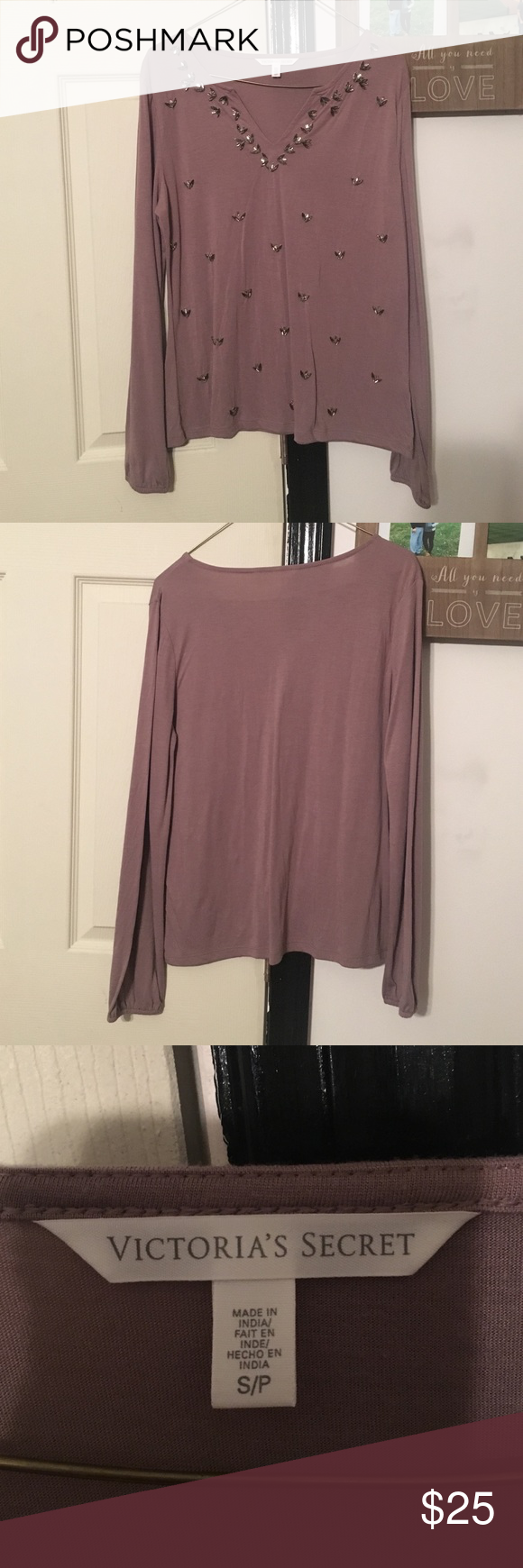 VS Long Sleeve Shirt Purple/muave colored, long sleeve top. Beading on front. Comfortable & loose fitting. New condition, worn once. Victoria's Secret Tops Tees - Long Sleeve