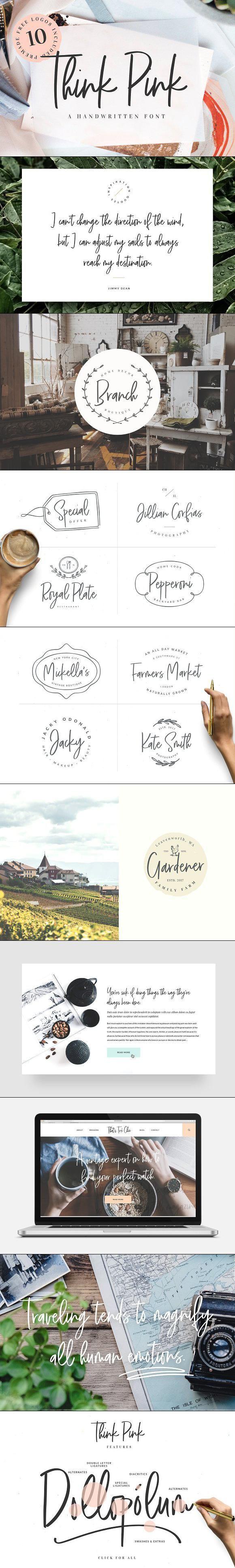 Think Pink Handwritten Font & Logos Web graphic design