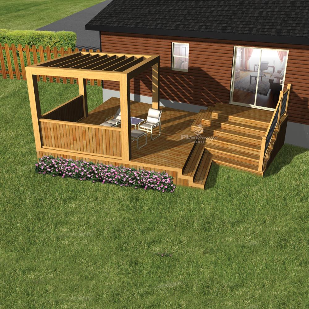 Cette terrasse en bois, au design épuré, est construite sur deux paliers Le