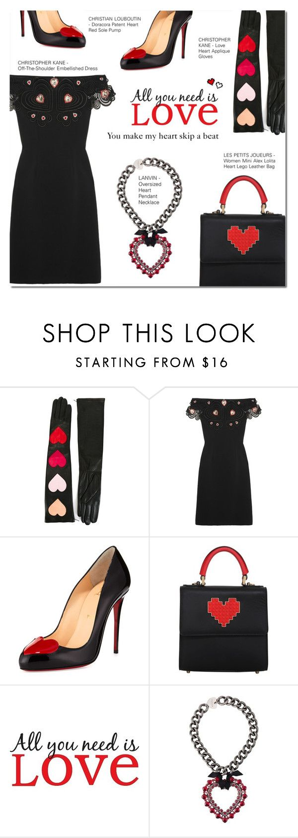 """""""YOU MAKE MY HEART..."""" by larissa-takahassi ❤ liked on Polyvore featuring Christopher Kane, Christian Louboutin, Les Petits Joueurs, Brewster Home Fashions, Lanvin and Retrò"""