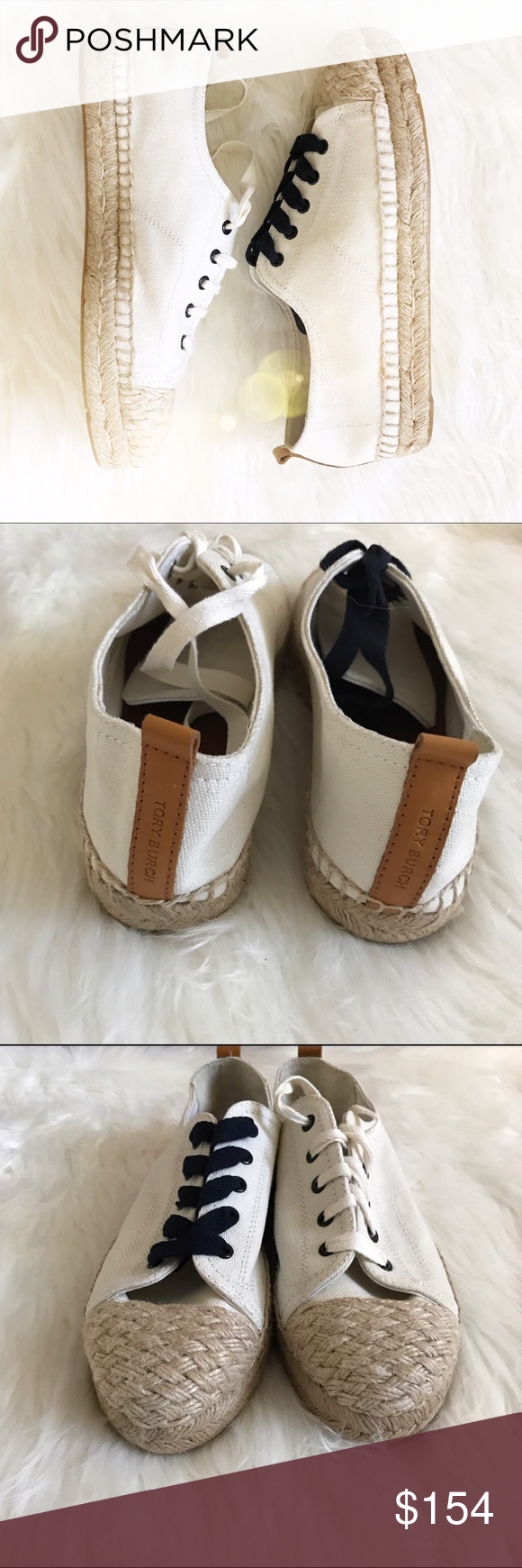 •NWOB• Tory Burch Carter Canvas lace up sneakers✨ Brand new, size 8.5! 💕 Tory Burch Shoes Espadrilles