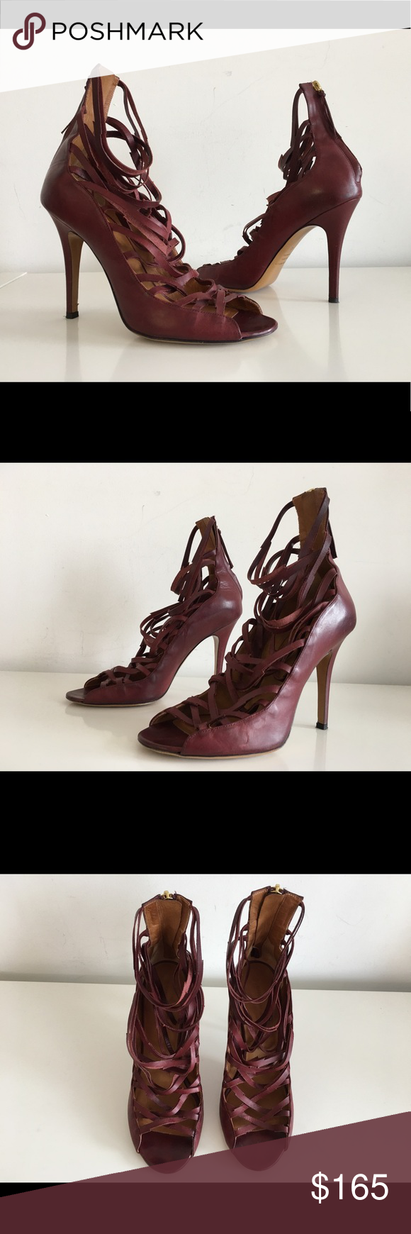 Isabel Marant Paw Lace Up Strappy Sandals In Brown Stiletto Heels Heels Stiletto