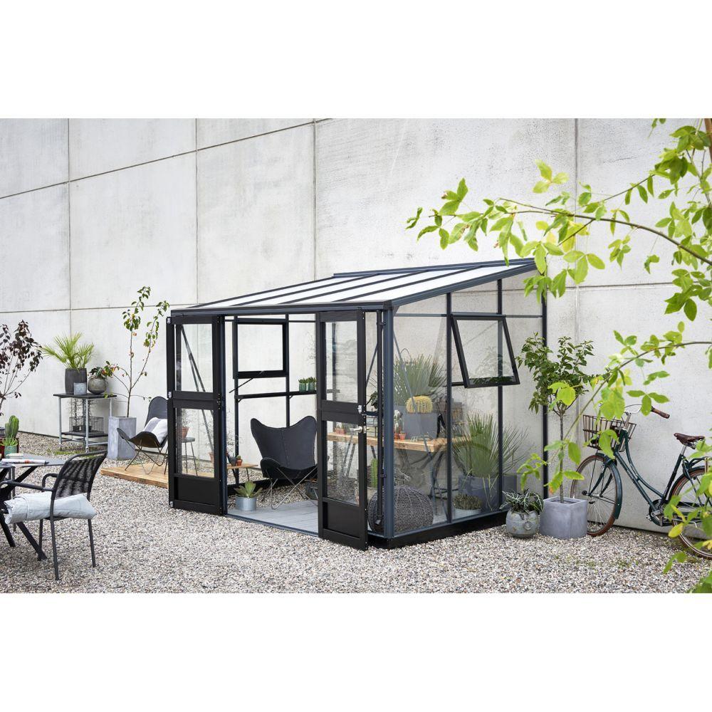 Serre de jardin adossée Veranda 6.6 m² - Anthracite - Juliana en ...
