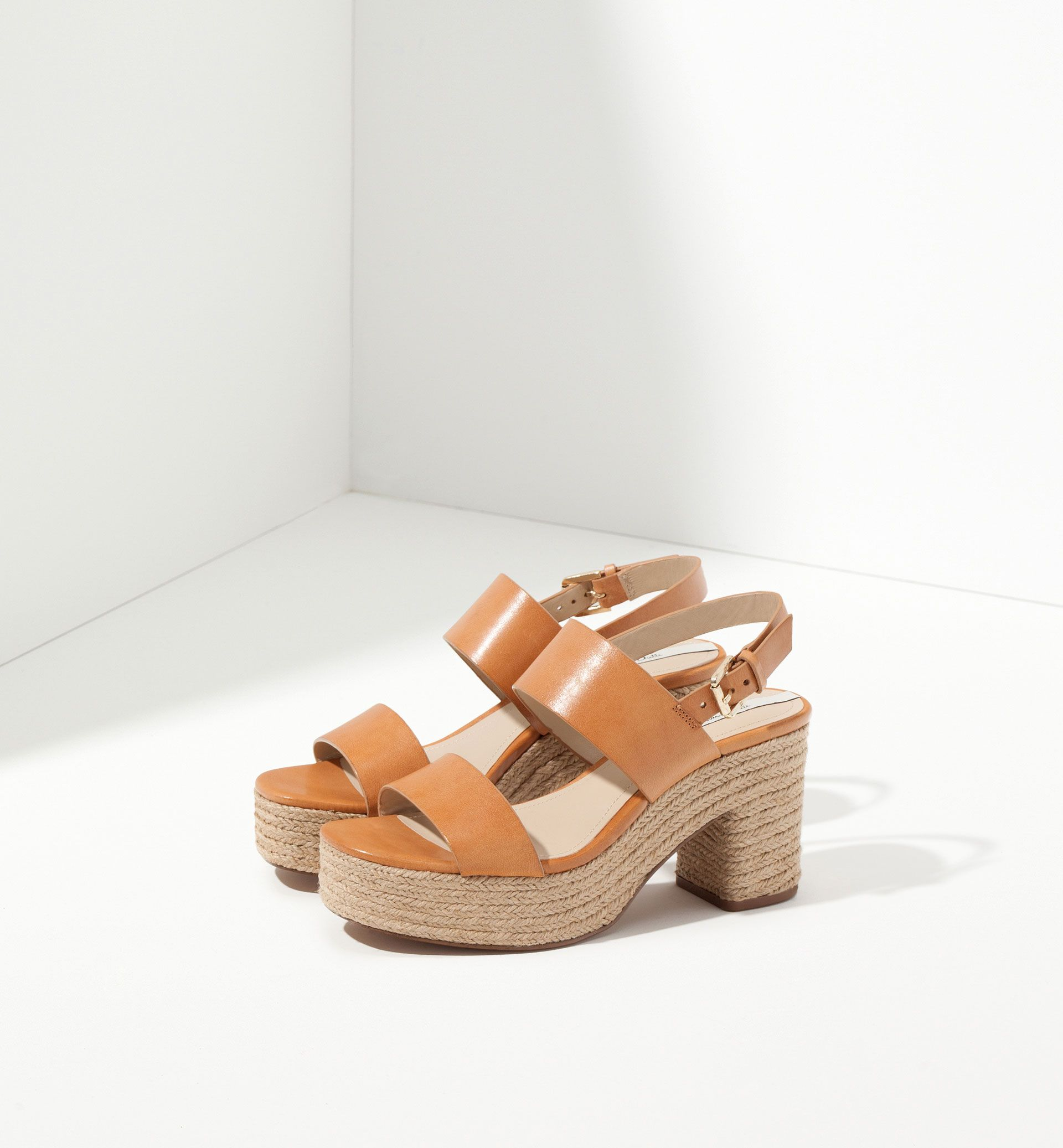 MASSIMO DUTTI - JUTE AND LEATHER SANDALS