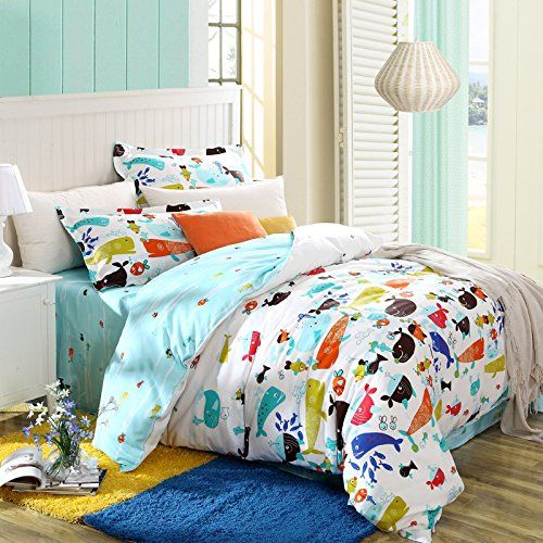 MeMoreCool Home Textile Cartoon Boys And Girls Bedding Set Variety Of Fish Pattern Duvet Cover Kids