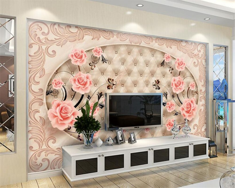 Beibehang 3d Wallpaper Tile Parquet Marble Relief Tv Background Wall