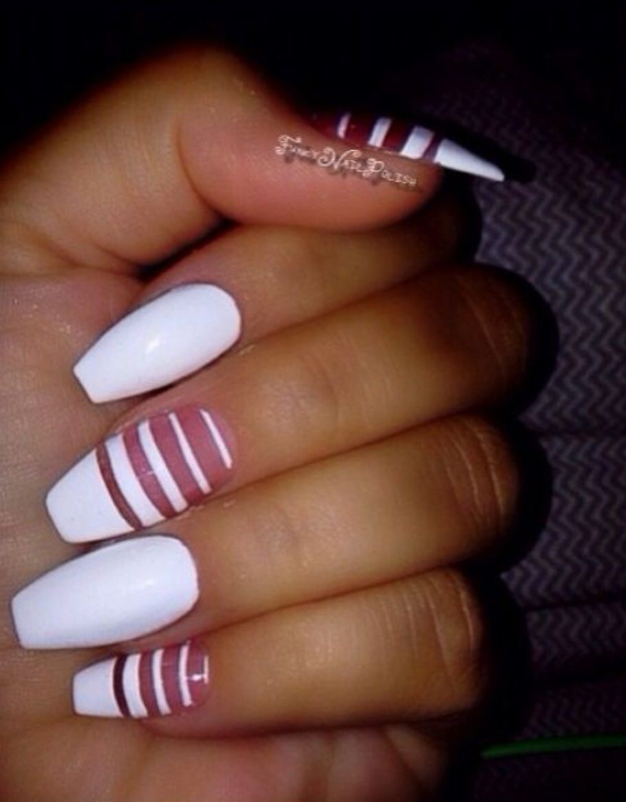 White Coffin nails with negative space nail art | Nail Designs ...