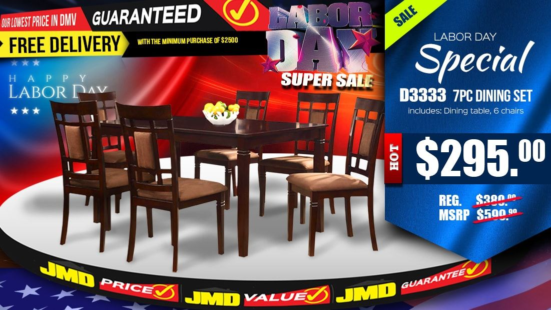 LABOR DAY SUPER DEAL Seven Piece D3333 Solid Wood Dining Room Set Is Only 29500 RIGHT NOW Sale Ends On Sunday Night Sept 3rd 2017