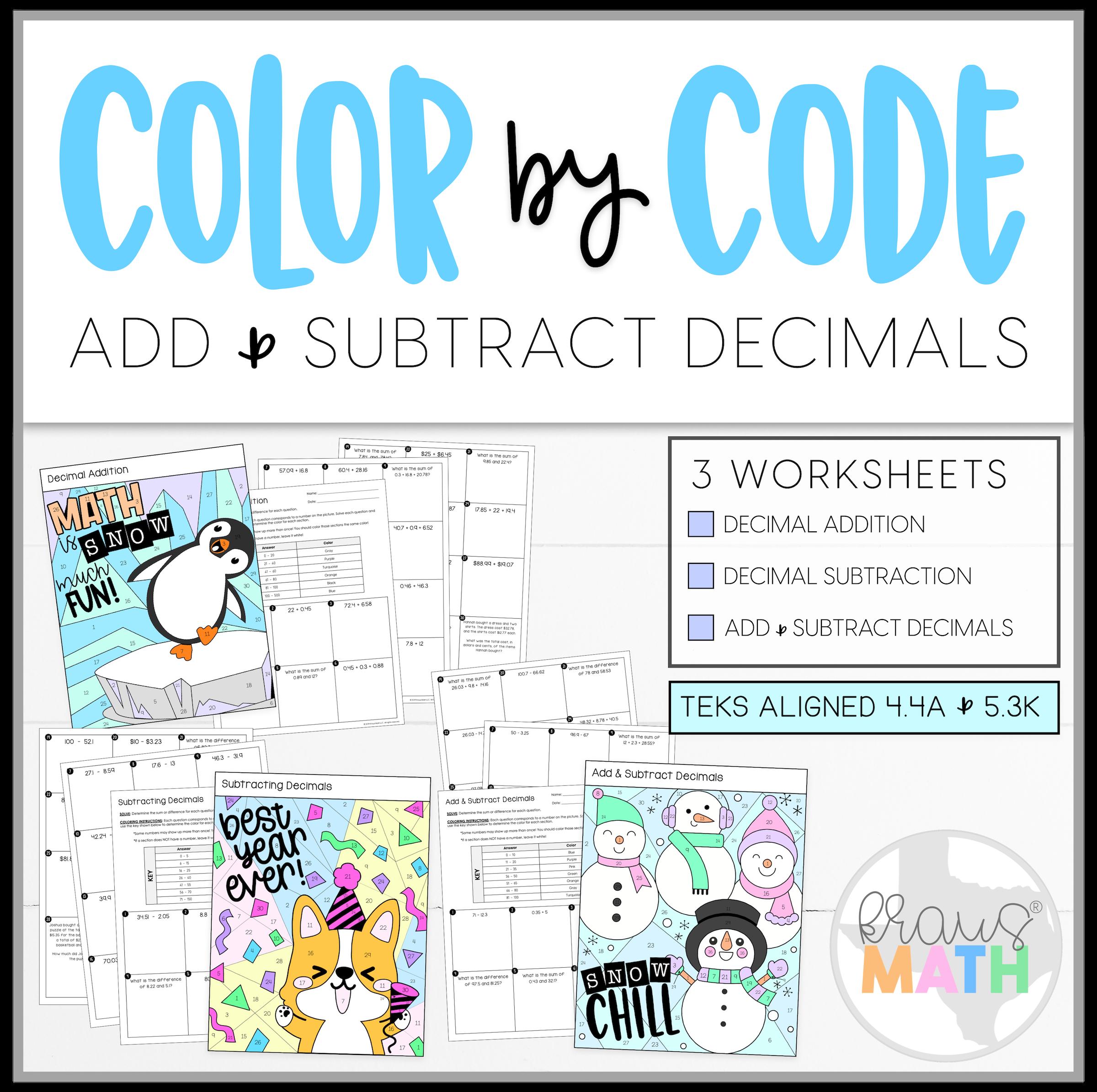 Add Amp Subtract Decimals Color By Number Winter Bundle