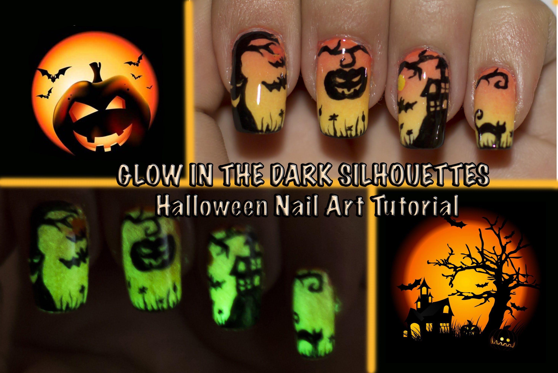 GLOW IN THE DARK Halloween Silhouettes Nail Art tutorial | Makeup ...