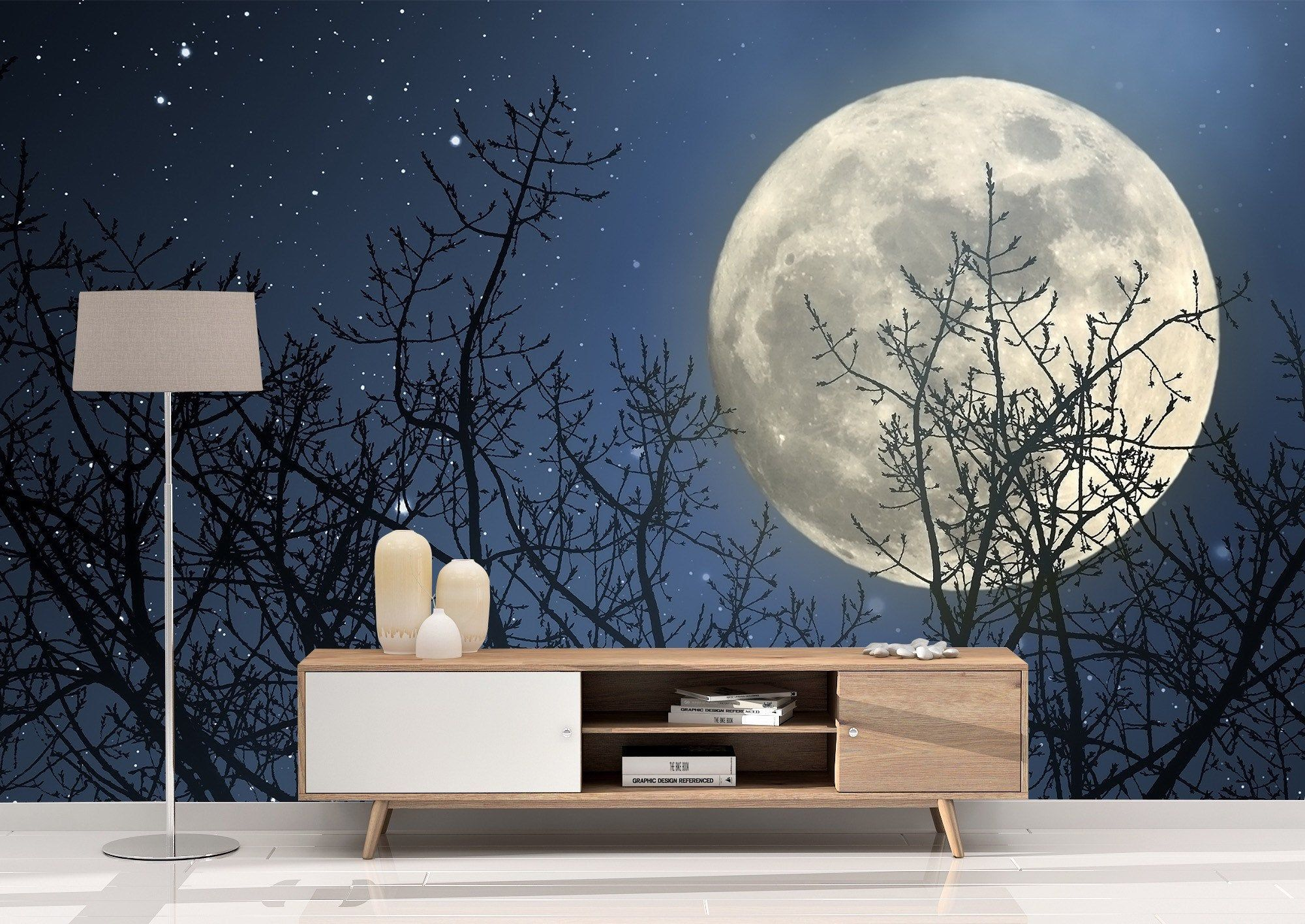 Removable Peel And Stick Wallpaper Full Moon Wall Mural Etsy Mural Wallpaper Peel And Stick Wallpaper Mural