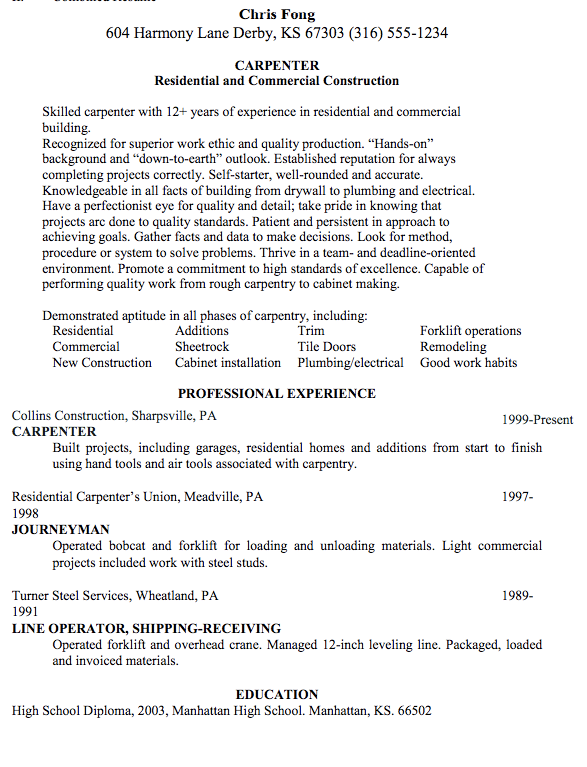unforgettable apprentice carpenter resume examples to stand out - Carpentry Resume Template