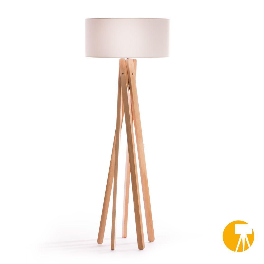 Design stehlampe tripod leuchte buche holz lampe h160cm stativ stehleuchte weiß in möbel