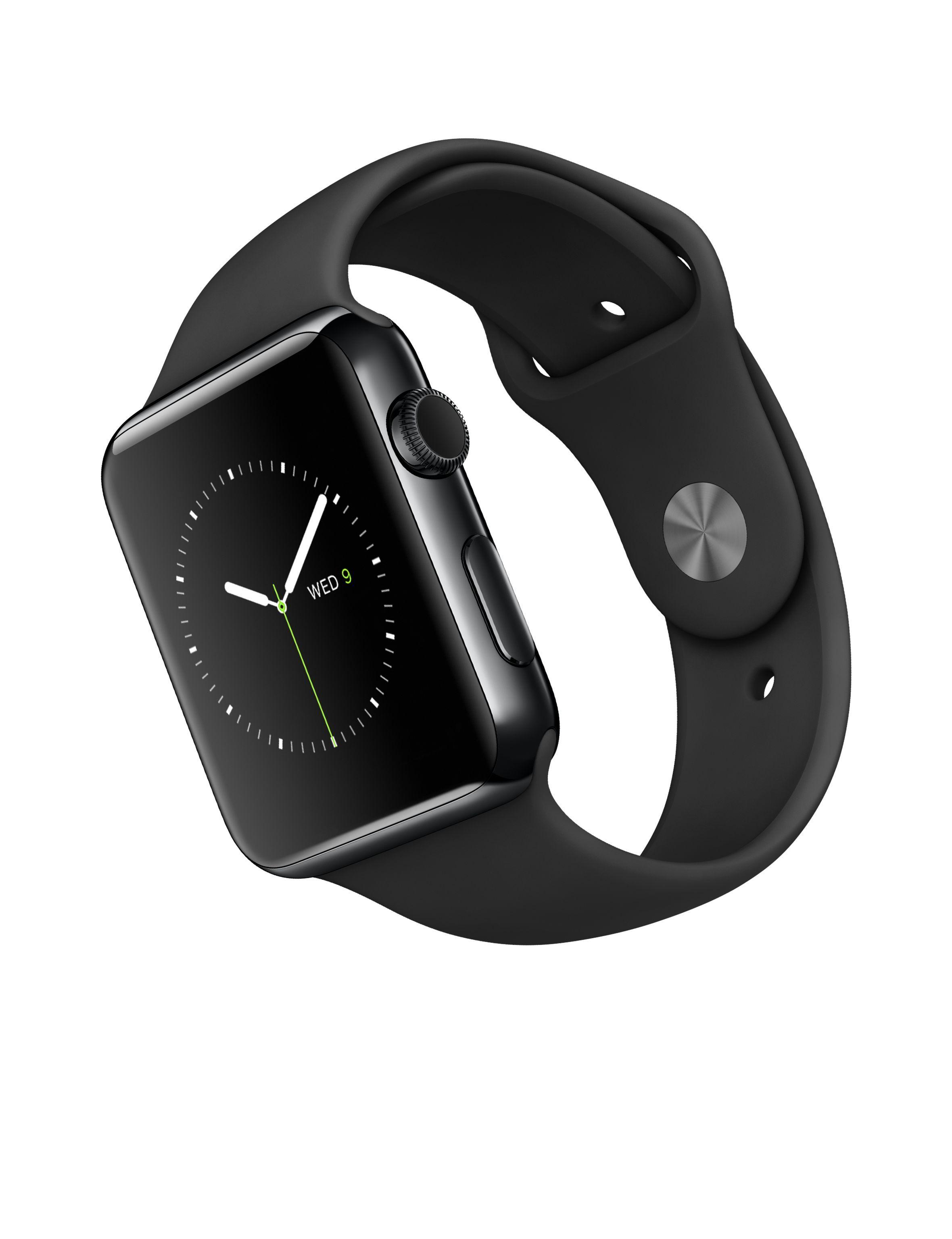 5083e485491 Apple Watch – Caixa 42mm de aço inoxidável negro espacial com pulseira  preta desportiva