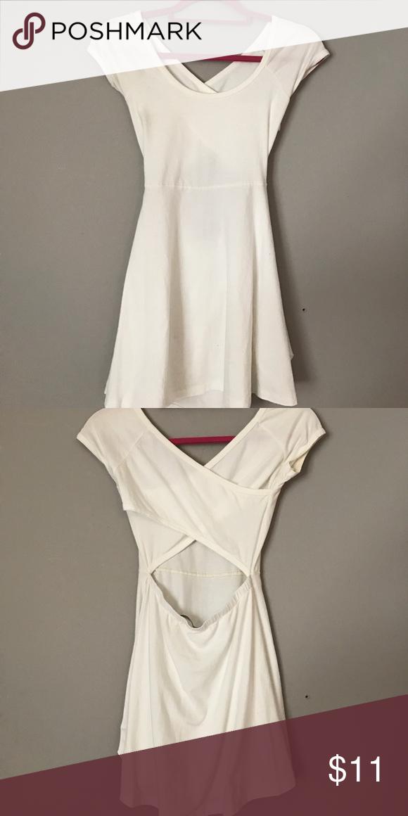 Brandy Melville skater dress White Brandy melville skater dress . Great condition criss cross/open back Brandy Melville Dresses Mini