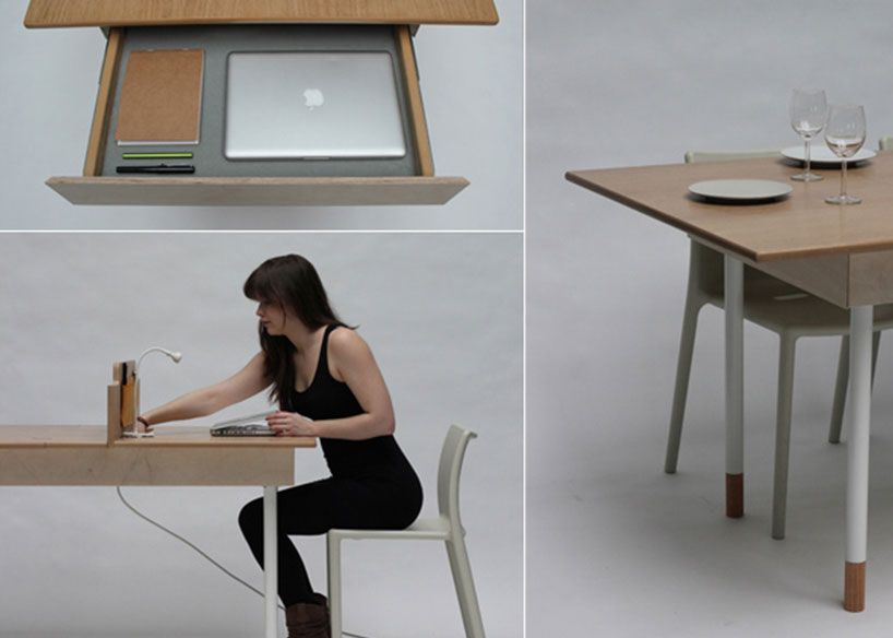space saving work desk for two that transforms into large dining table - Space Saving Desk