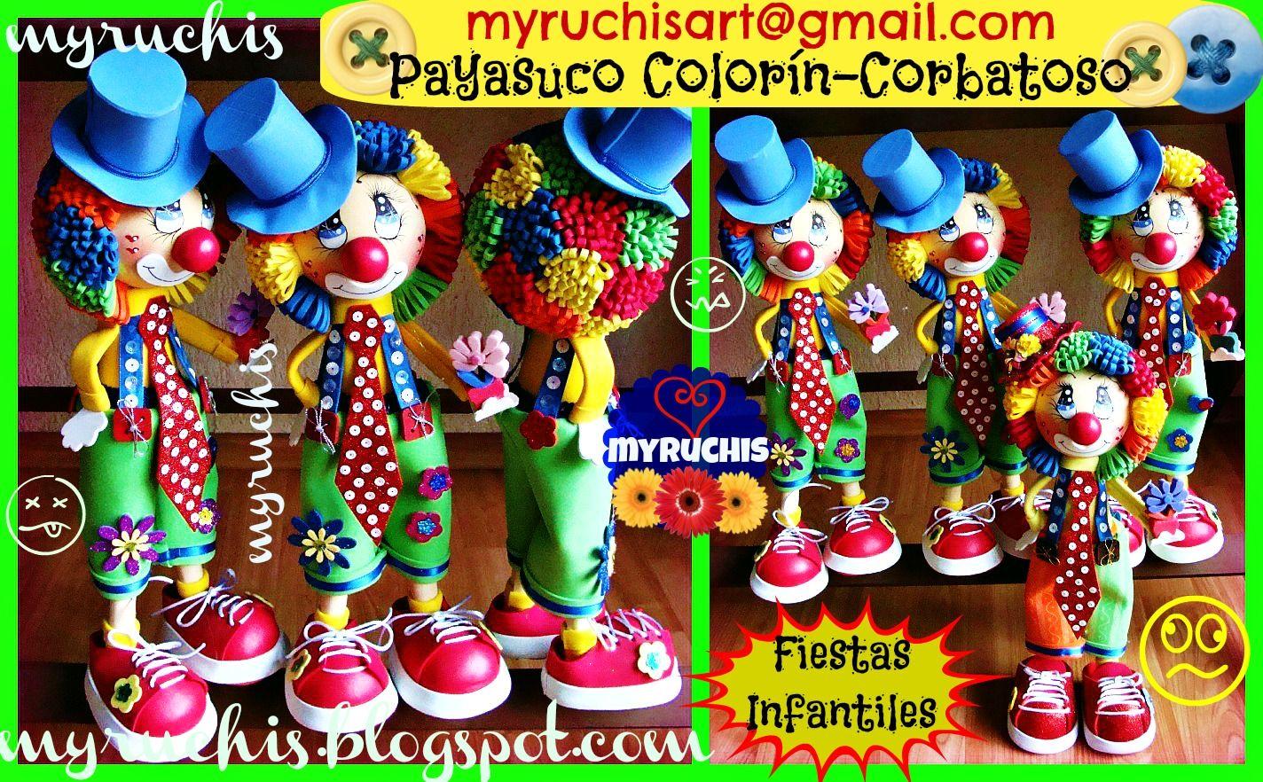 Centros de Mesa Infantiles, Fiesta Payasos myruchis.blogspot.com