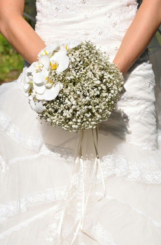 Baby Breath And Butterfly Orchid Bouquet White Wedding Bouquets