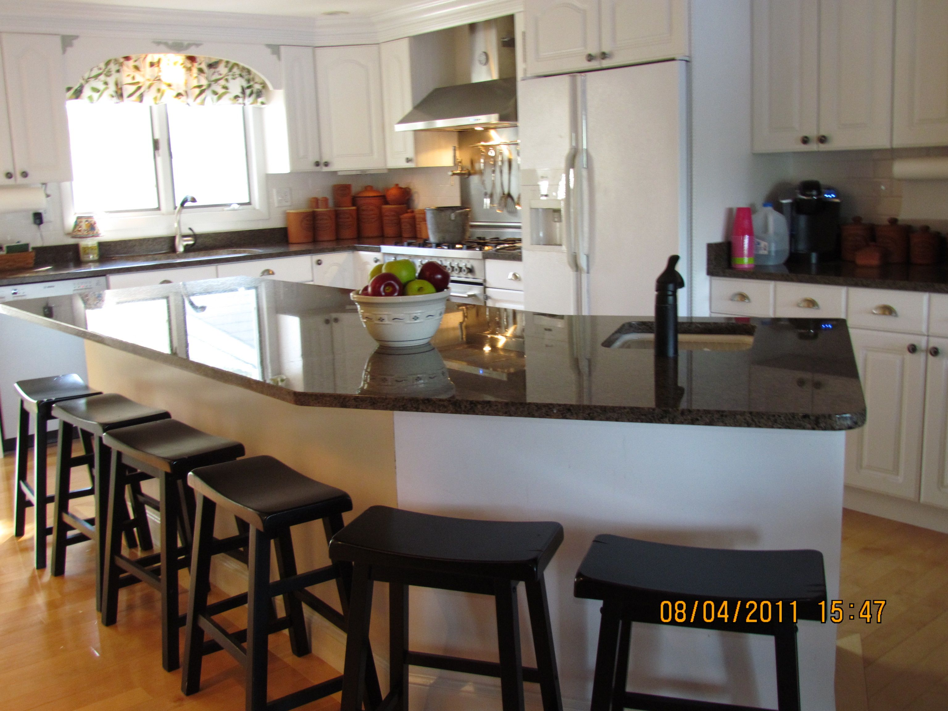 Kitchen Island With Prep Sink Countertop Large Granite In Cottage