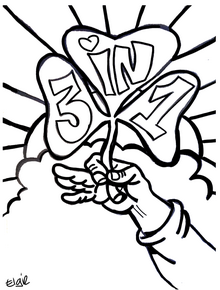 Coloring Page For St Patrick S Day Clover Says 3 In 1 To Tie St Coloring Pages Religious