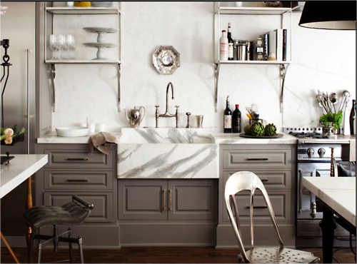 gray cabinets, hex tiles