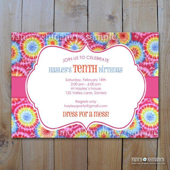 Tie Dye Invitation Digital pdf or jpeg file PRINTABLE INVITATION