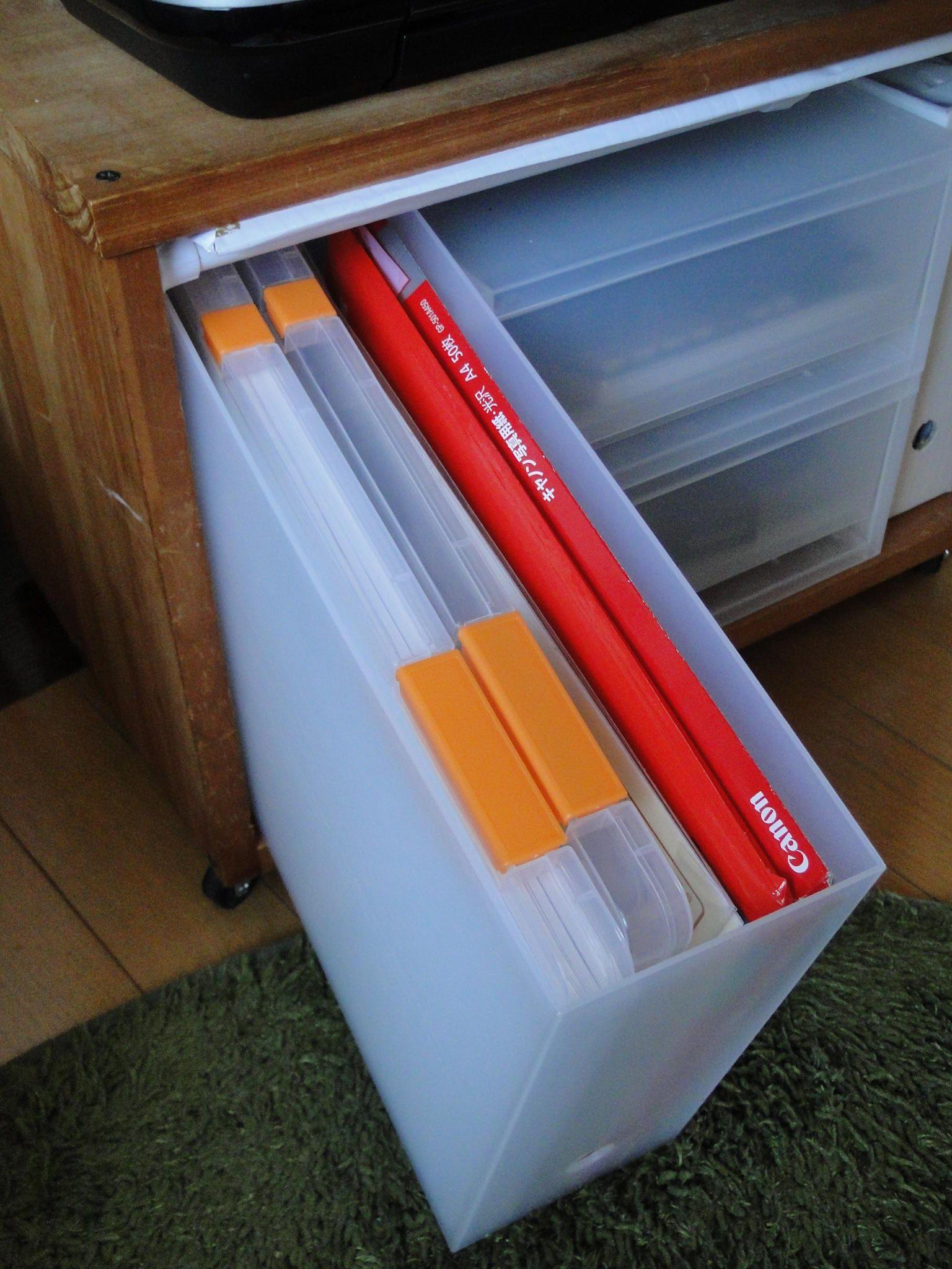 100均のa4ファイルケースでコピー用紙収納 Neigeノ庭カラ 収納 収納ボックス 100均 100均