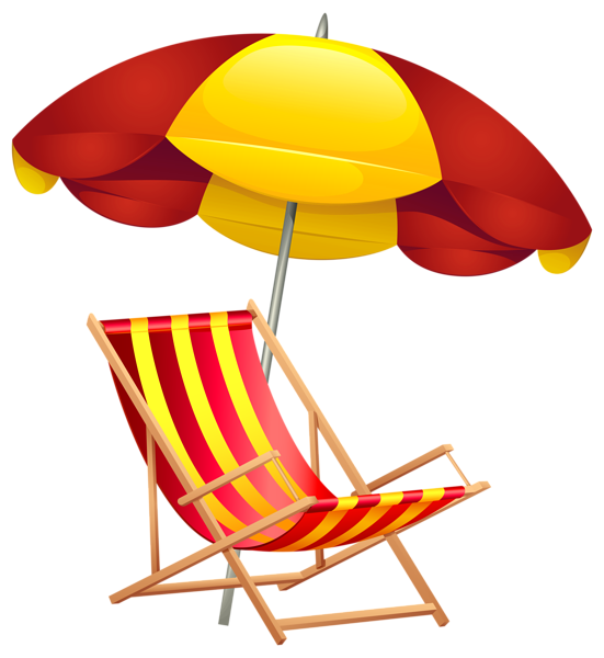 Beach Chair and Umbrella PNG Clip Art Image (With images