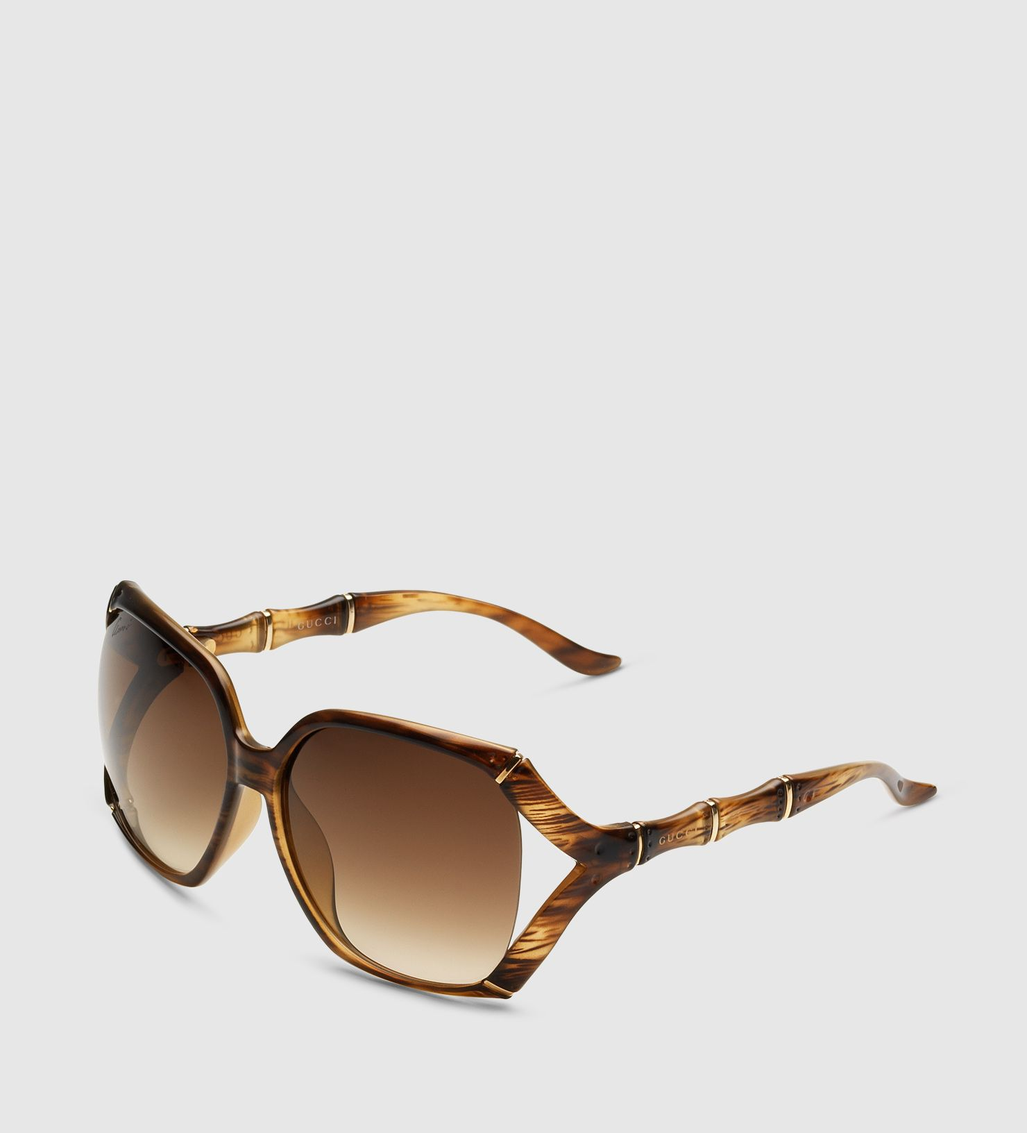 Gafas de sol rectangulares grande con efecto bambú y el logotipo de ...