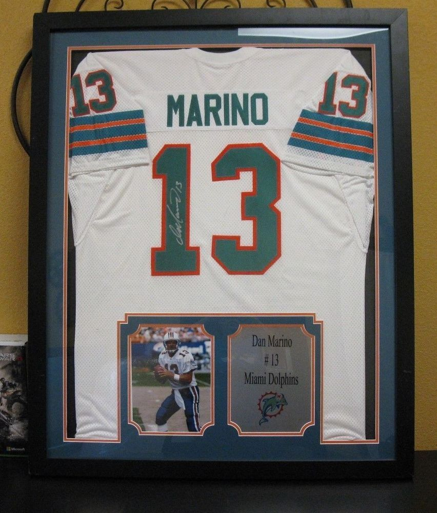 ae17df019 Premium Framed Dan Marino Signed Miami Dolphins Official Jersey   WITH  PLAQUE (eBay Link)