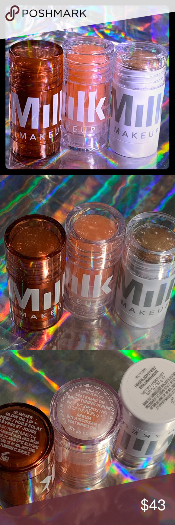 Milk Makeup full sz GLIMMER LIP + cheek & 2 minis in 2020