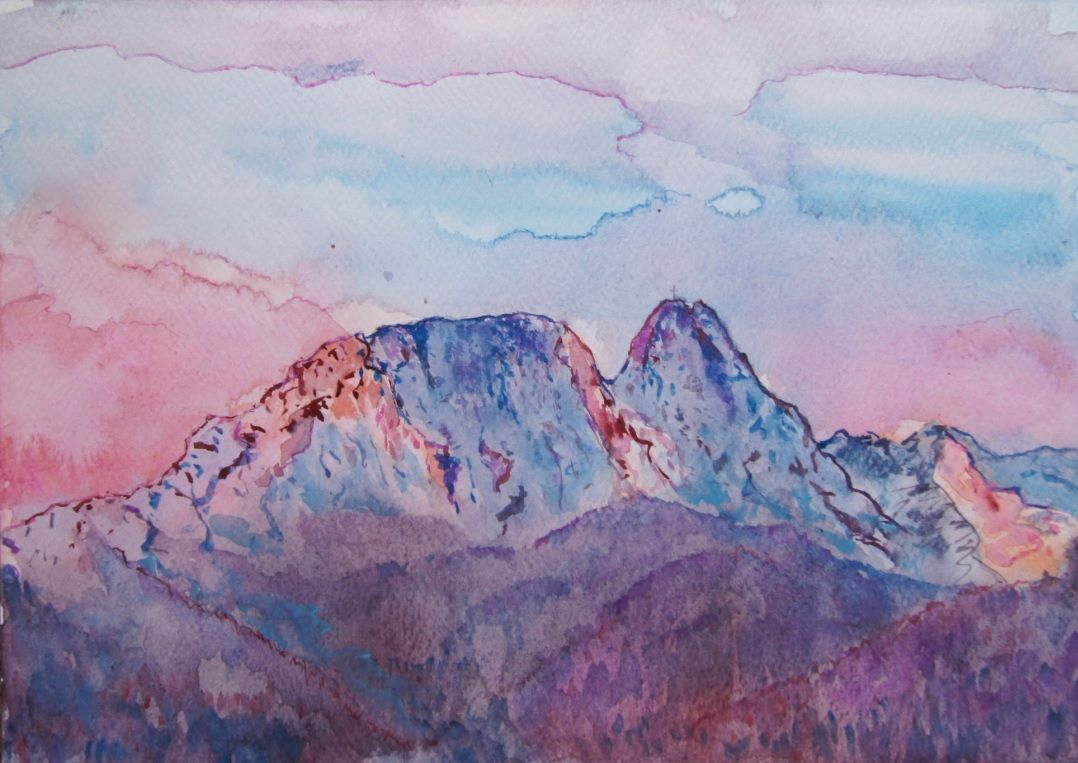 Sunrise over Giewont, watercolour painting by Bożena