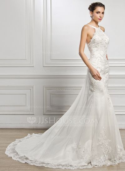 5af22ee14250e  US  249.99  Trumpet Mermaid Scoop Neck Chapel Train Tulle Lace Wedding  Dress With Beading Sequins