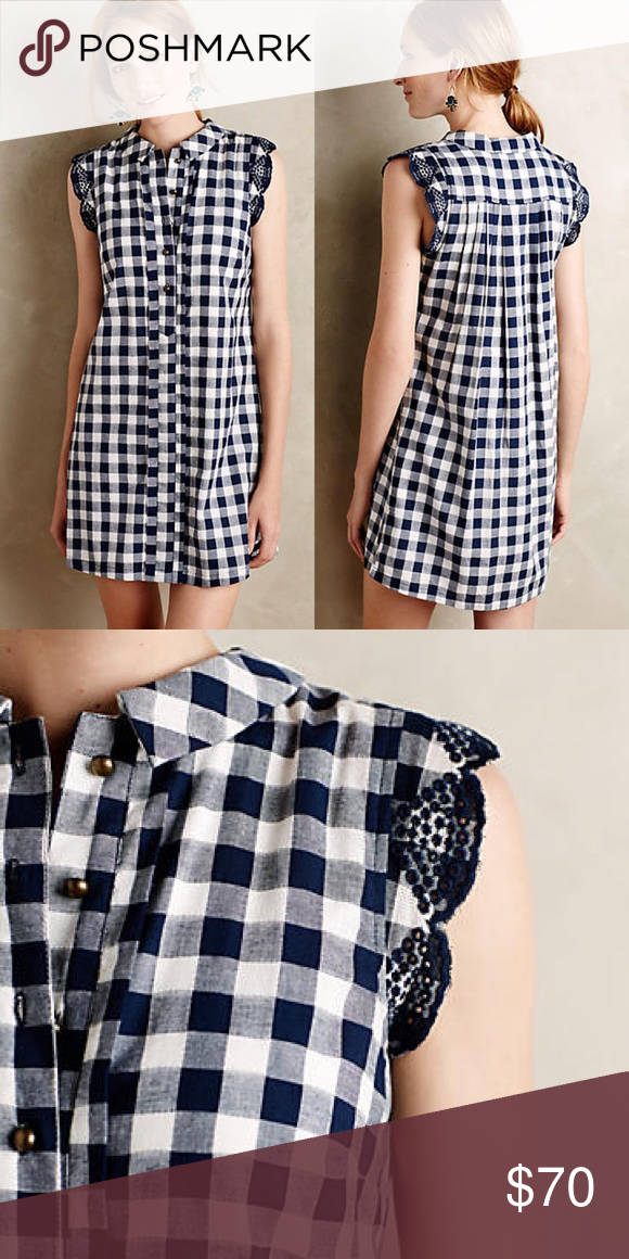 ✨ NWT Anthropologie Gingham dress size S ✨ Perfect summer dress with all the cutest details! Never worn, new with tags because it's too big for me and I never got around to getting it altered. Anthropologie Dresses
