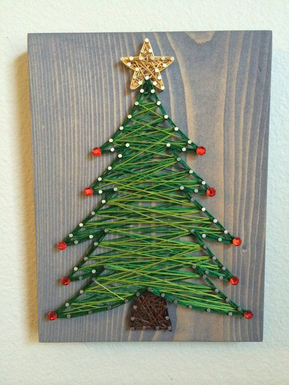 Made To Order- Christmas Tree String Art, Winter Wall Decor, Holiday decor, ornaments, star, Christmas gift, Christmas present