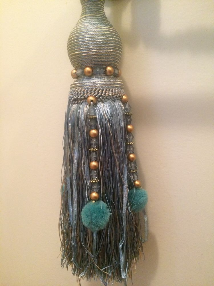 One French Blue X Large Tassel Curtain Tieback Home Decor Cottage